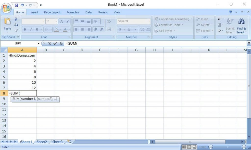 Microsoft office Excel 2007 look hindi